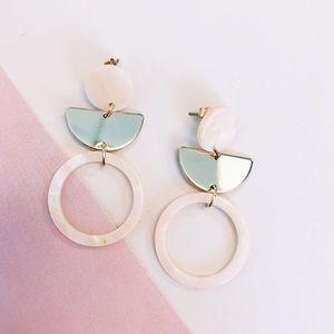 Jewelry - Half Moon Pink Pearl Acrylic Earrings